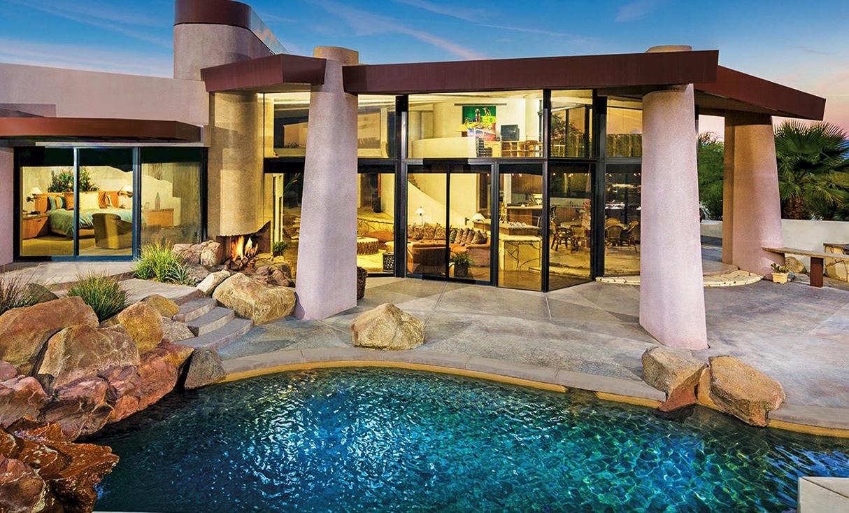 Sliding doors by pool
